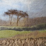 Brown Field Site - hand felted and manipulated embroidered wool