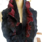 Collar neck piece. Felted wool with decorative tucks and frills.